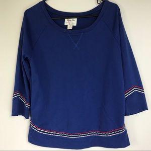 Lucky Brand Blue 3/4 Sleeve Embroider Sweatshirt M